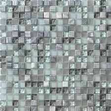 "Crystal Stone 12"" x 12"" Glass/Stone Mosaic in Breeze"
