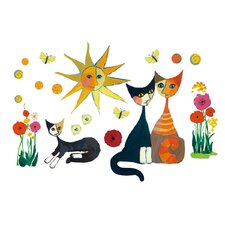 """Colourful Cat's Life"" Wall Sticker"