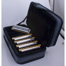 Marine Band Harmonica Case in Chrome - Key of C, G, A, D, E