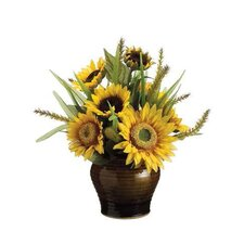 Sunflower / Foxtail in Ceramic Vase