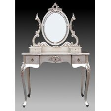 154cm Dressing Table Set in Silver