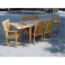 <strong>Anderson Teak</strong> Bahama 7 Piece Rectangular Extension Table Set with Chicago Armchair and Chair