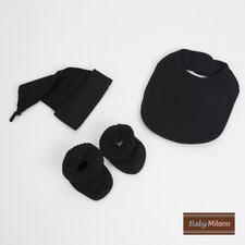 Bib, Booties and Knotted Hat Gift Set in Black