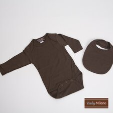 <strong>Baby Milano</strong> 2 Piece Baby Gift Set with Bib in Brown