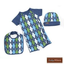 3 Piece Baby Clothes Gift Set in Blue Argyle