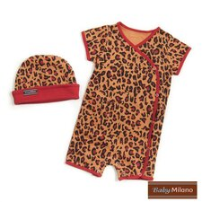 <strong>Baby Milano</strong> Baby Hat and Body Suit in Leopard Print