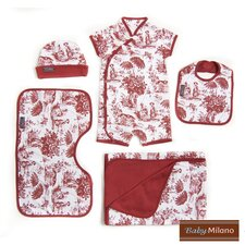 <strong>Baby Milano</strong> 5 Piece Baby Gift Set in Burgundy Toile