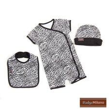 3 Piece Baby Clothes Gift Set in Zebra Print