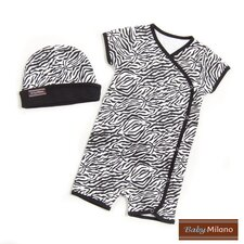 Baby Hat and Body Suit Set in Zebra Print