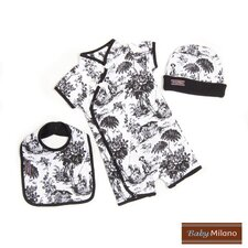 3 Piece Baby Gift Set in Black Toile