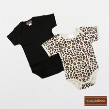 Infant Bodysuits Short Sleeve Gift Set in Black and Leopard Print