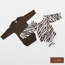 Infant Bodysuits Long Sleeve Gift Set in Zebra Print and Brown