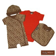 <strong>Baby Milano</strong> 4 Piece Baby Clothes Gift Set in Giraffe Print and Red
