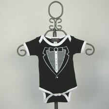 Black Tuxedo Infant Bodysuit - Short Sleeve with White Trim