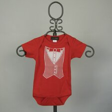 Short Sleeve Infant Bodysuit in Red Tuxedo