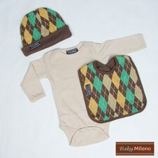 Unique Baby Clothes Outfit in Brown Argyle
