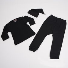 <strong>Baby Milano</strong> 3 Piece Baby Outfit in Black with Knotted Hat
