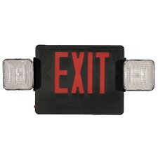 Combo Remote Capable LED and Exit / Emergency Light in Red LED and Black Housing