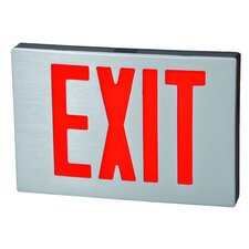 Cast Aluminum LED Exit Sign with Red Lettering, Black Housing and Aluminum Face