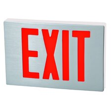 Cast Aluminum LED Exit Sign with Red Lettering, Aluminum Housing and White Face
