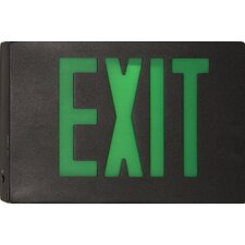 Cast Aluminum LED Exit Sign with Green Lettering, Black Housing and Black Face