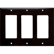 3 Gang Decorator / GFCI Lexan Wall Plates in Brown