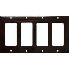 4 Gang Decorator / GFCI Lexan Wall Plates in Brown