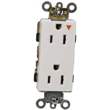 15A-125V Decorator Isolated Ground Duplex Receptacle in White