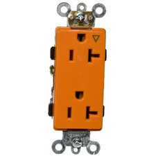 20A-125V Decorator Isolated Ground Duplex Receptacle in Orange