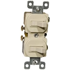 15A-120/277V Single Pole Double Switch in Ivory