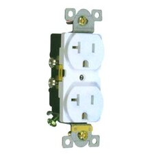20A Industrial Grade Duplex Receptacle in White