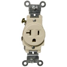 20A Industrial Grade Single Receptacle in Ivory