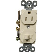 Combination Single Pole Switch and Receptacle in Ivory