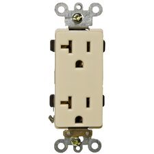 20A Industrial Grade Decorator Duplex Receptacle in Ivory