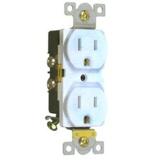 15A Industrial Grade Duplex Receptacle in White