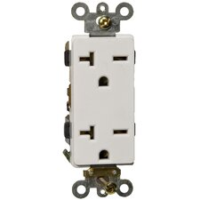 20A-250V Industrial Grade Decorator Duplex Receptacle in White