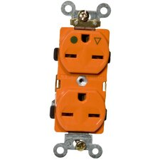 15A-250V Isolated Ground Duplex Receptacle in Orange