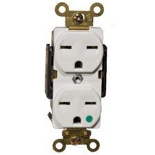 15A-250V Hospital Grade Duplex Receptacle in White
