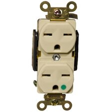 20A-250V Hospital Grade Duplex Receptacle in Ivory