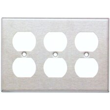 Three Gang and Duplex Receptacle Metal Wall Plates in Stainless