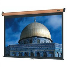 "Medium Oak Veneer Model B Manual Screen with Matte White Fabric - 70"" x 70"" Video Format"