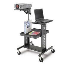 "Adjustable Projector Table with 7"" - 13"" x 12"" Shelf, Laptop Shelf, and 4"" Casters"