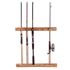 <strong>Rush Creek</strong> Wall Mount Log Vertical / Horizontal 6 Fishing Rod Rack