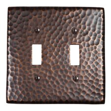 Hammered Copper Double Switch Plate