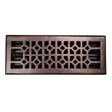 "Decorative 4"" x 12"" Floor Register with Damper"