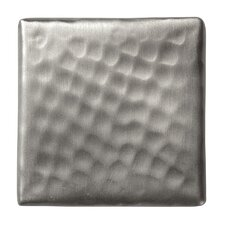"Solid Hammered Copper 2"" x 2"" Decorative Accent Tile in Satin Nickel"