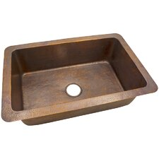 "32"" x 21"" Solid Hand Hammered Large Single Bowl Drop-In /Undermount Kitchen Sink"