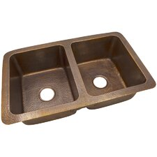 "34"" x 21"" Solid Hand Hammered Large Double Bowl Drop-In /Undermount Kitchen Sink"