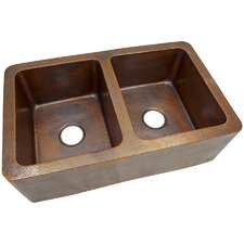 "<strong>The Copper Factory</strong> 34"" x 21"" Solid Hand Hammered Large Double Bowl Farmhouse Kitchen Sink"