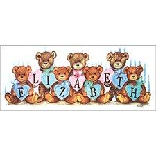 Pastel Heart Bears Canvas Art